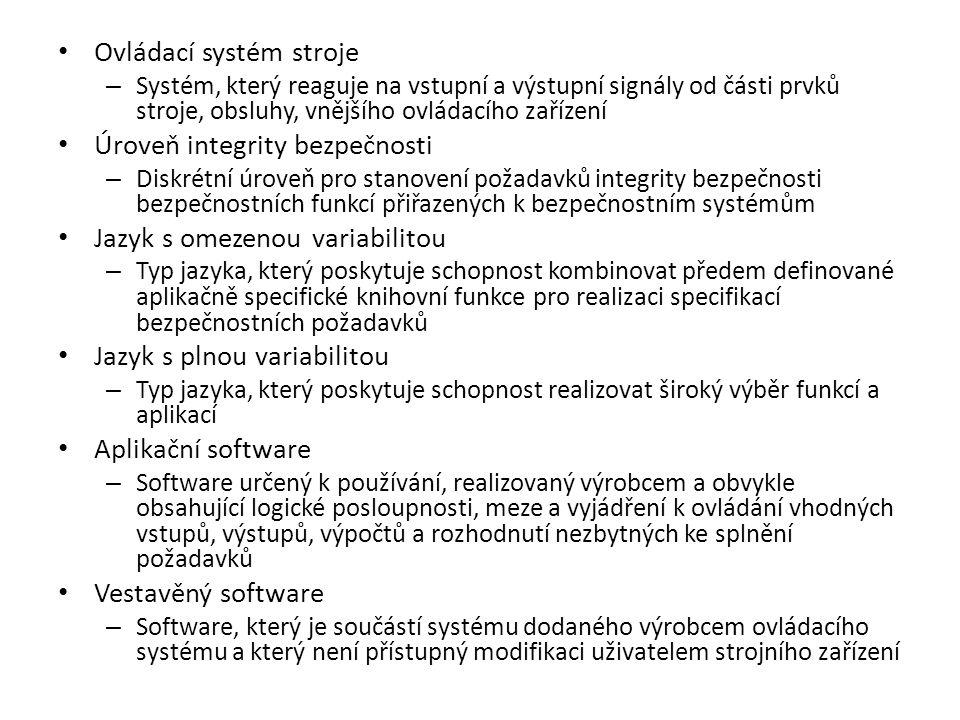 Ovládací systém stroje – Systém, který reaguje na vstupní a výstupní signály od části prvků stroje, obsluhy, vnějšího ovládacího zařízení Úroveň integ