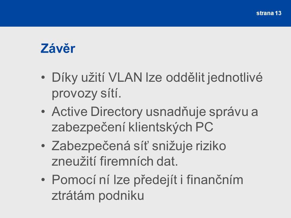 Závěr Díky užití VLAN lze oddělit jednotlivé provozy sítí.