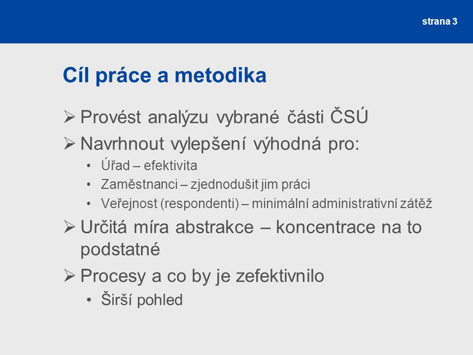 strana 3 Cíl práce a metodika  Provést analýzu vybrané části ČSÚ  Navrhnout vylepšení výhodná pro: Úřad – efektivita Zaměstnanci – zjednodušit jim p
