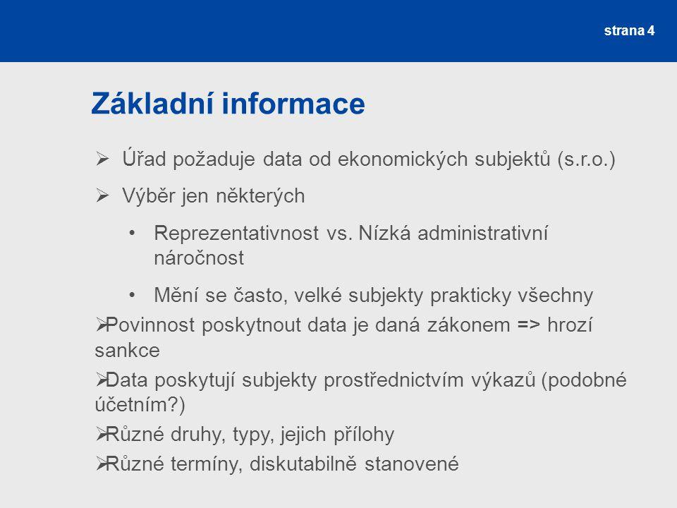 strana 4 Základní informace  Úřad požaduje data od ekonomických subjektů (s.r.o.)  Výběr jen některých Reprezentativnost vs. Nízká administrativní n