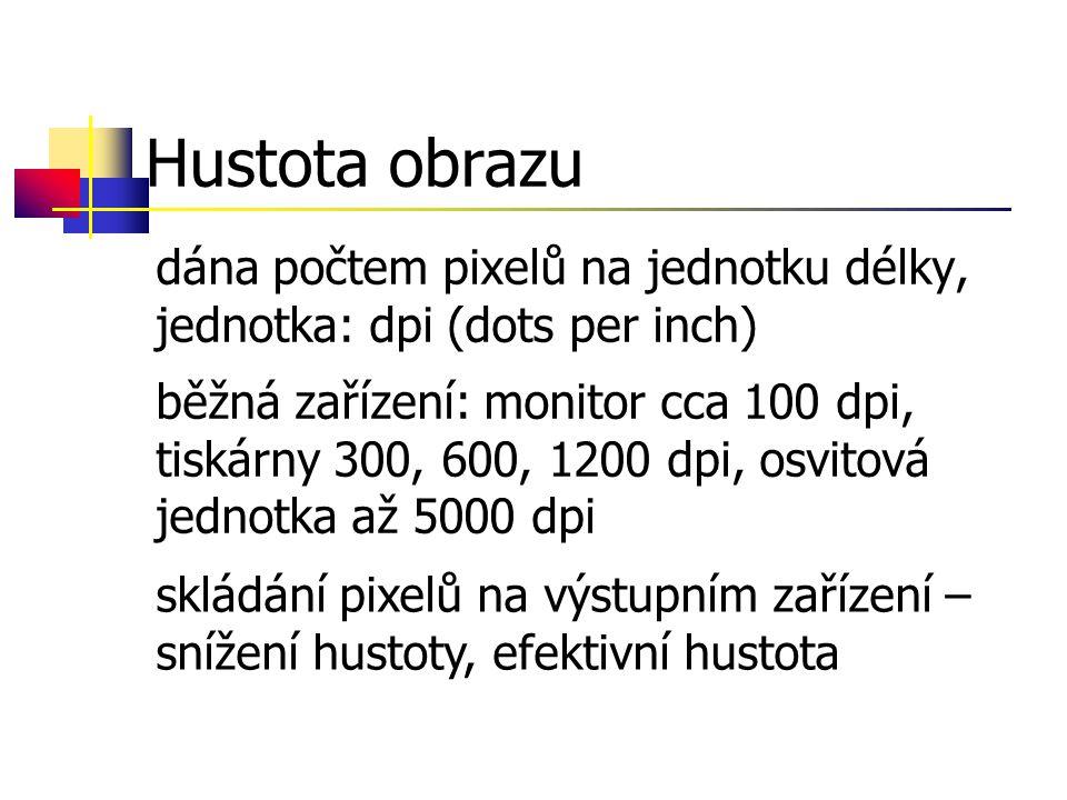 Hustota obrazu dána počtem pixelů na jednotku délky, jednotka: dpi (dots per inch) běžná zařízení: monitor cca 100 dpi, tiskárny 300, 600, 1200 dpi, osvitová jednotka až 5000 dpi skládání pixelů na výstupním zařízení – snížení hustoty, efektivní hustota