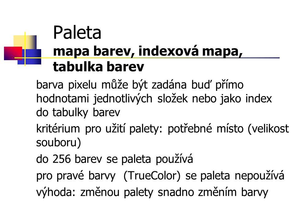 Paleta mapa barev, indexová mapa, tabulka barev barva pixelu může být zadána buď přímo hodnotami jednotlivých složek nebo jako index do tabulky barev kritérium pro užití palety: potřebné místo (velikost souboru) do 256 barev se paleta používá pro pravé barvy (TrueColor) se paleta nepoužívá výhoda: změnou palety snadno změním barvy