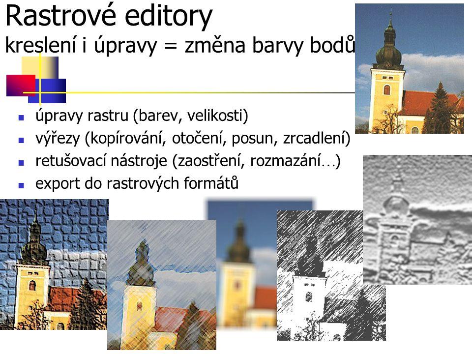 Rastrové editory kreslení i úpravy = změna barvy bodů úpravy rastru (barev, velikosti) výřezy (kopírování, otočení, posun, zrcadlení) retušovací nástroje (zaostření, rozmazání  ) export do rastrových formátů