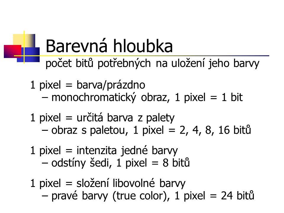 Barevná hloubka počet bitů potřebných na uložení jeho barvy 1 pixel = barva/prázdno – monochromatický obraz, 1 pixel = 1 bit 1 pixel = určitá barva z palety – obraz s paletou, 1 pixel = 2, 4, 8, 16 bitů 1 pixel = intenzita jedné barvy – odstíny šedi, 1 pixel = 8 bitů 1 pixel = složení libovolné barvy – pravé barvy (true color), 1 pixel = 24 bitů