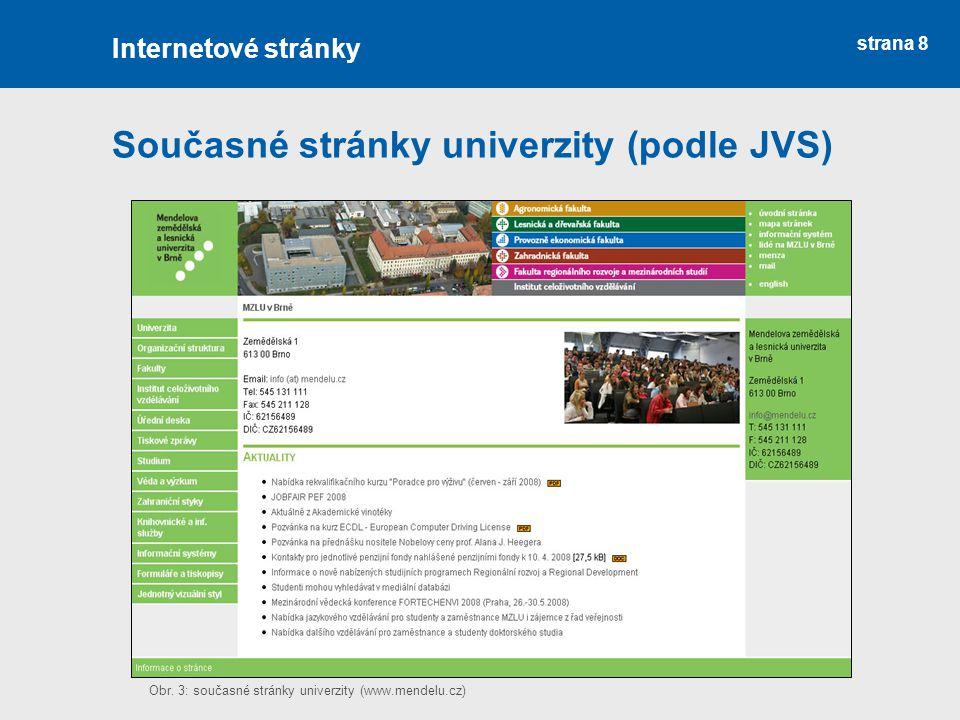 strana 8 Současné stránky univerzity (podle JVS) Internetové stránky Obr.