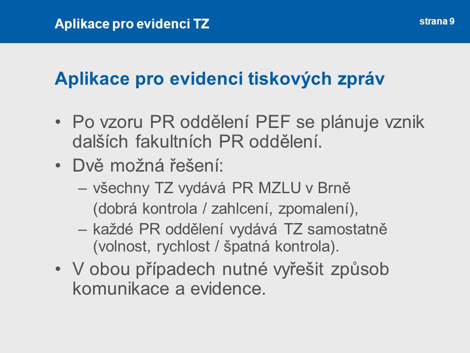 strana 9 Aplikace pro evidenci tiskových zpráv Po vzoru PR oddělení PEF se plánuje vznik dalších fakultních PR oddělení. Dvě možná řešení: –všechny TZ