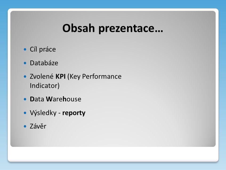 Obsah prezentace… Cíl práce Databáze Zvolené KPI (Key Performance Indicator) Data Warehouse Výsledky - reporty Závěr