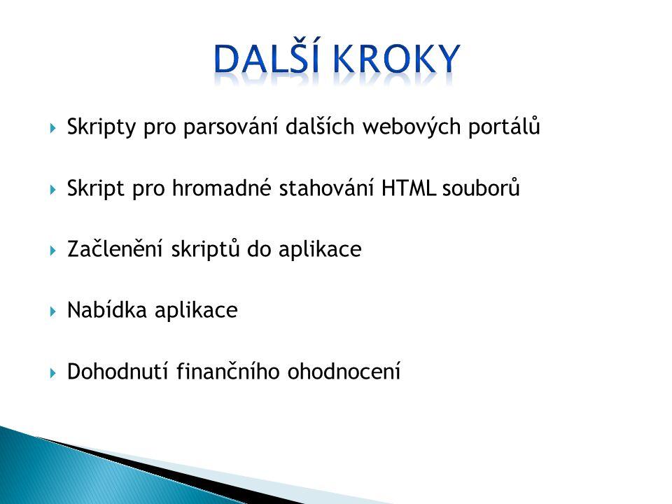  Skripty pro parsování dalších webových portálů  Skript pro hromadné stahování HTML souborů  Začlenění skriptů do aplikace  Nabídka aplikace  Dohodnutí finančního ohodnocení