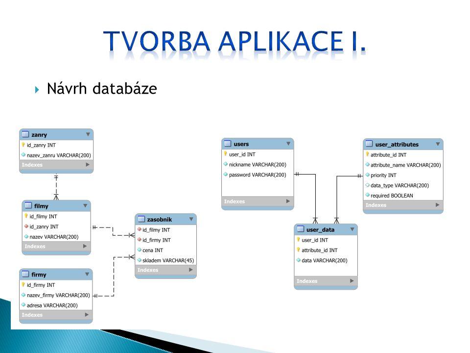  Získávání dat z webových portálů  Parsovací skript (PHP 5, XML XPath) http://www.popron.cz/animovany/  Skript pro vložení dat do DB (PHP 5, SQL)