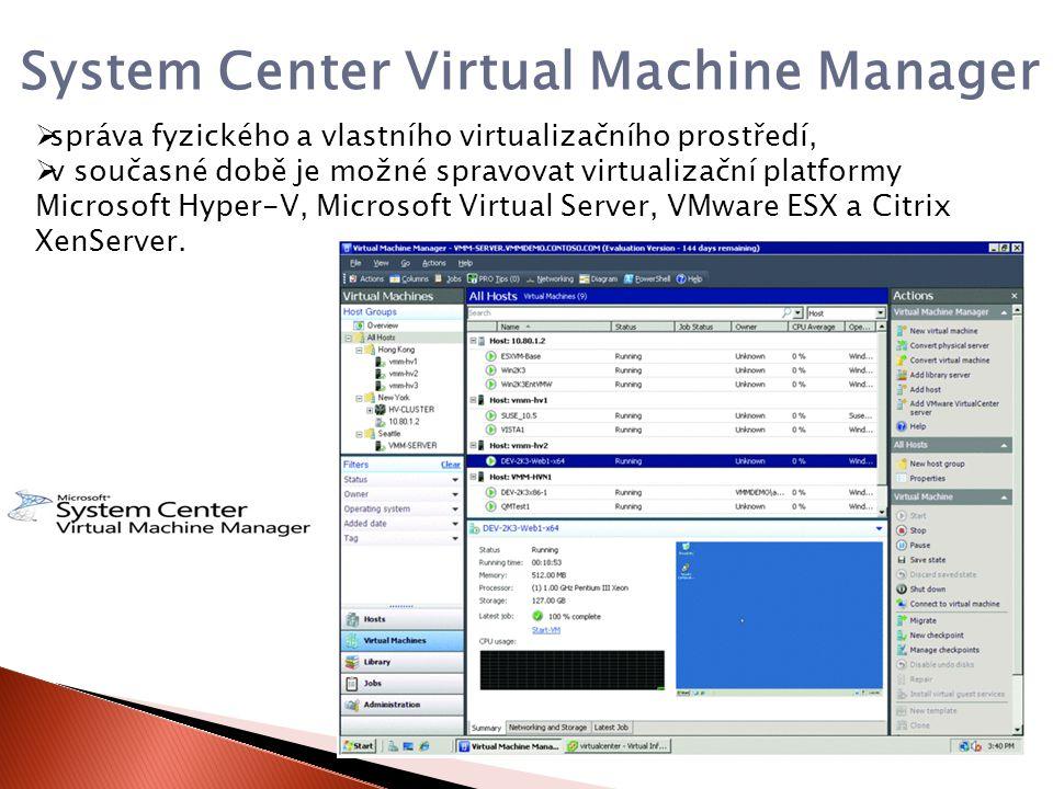  správa fyzického a vlastního virtualizačního prostředí,  v současné době je možné spravovat virtualizační platformy Microsoft Hyper-V, Microsoft Virtual Server, VMware ESX a Citrix XenServer.