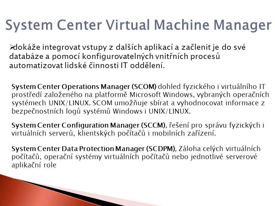 System Center Virtual Machine Manager  dokáže integrovat vstupy z dalších aplikací a začlenit je do své databáze a pomocí konfigurovatelných vnitřních procesů automatizovat lidské činnosti IT oddělení.