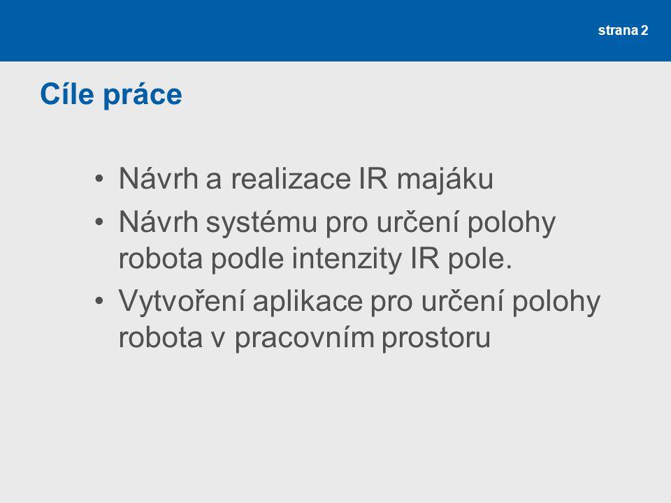 strana 2 Cíle práce Návrh a realizace IR majáku Návrh systému pro určení polohy robota podle intenzity IR pole. Vytvoření aplikace pro určení polohy r