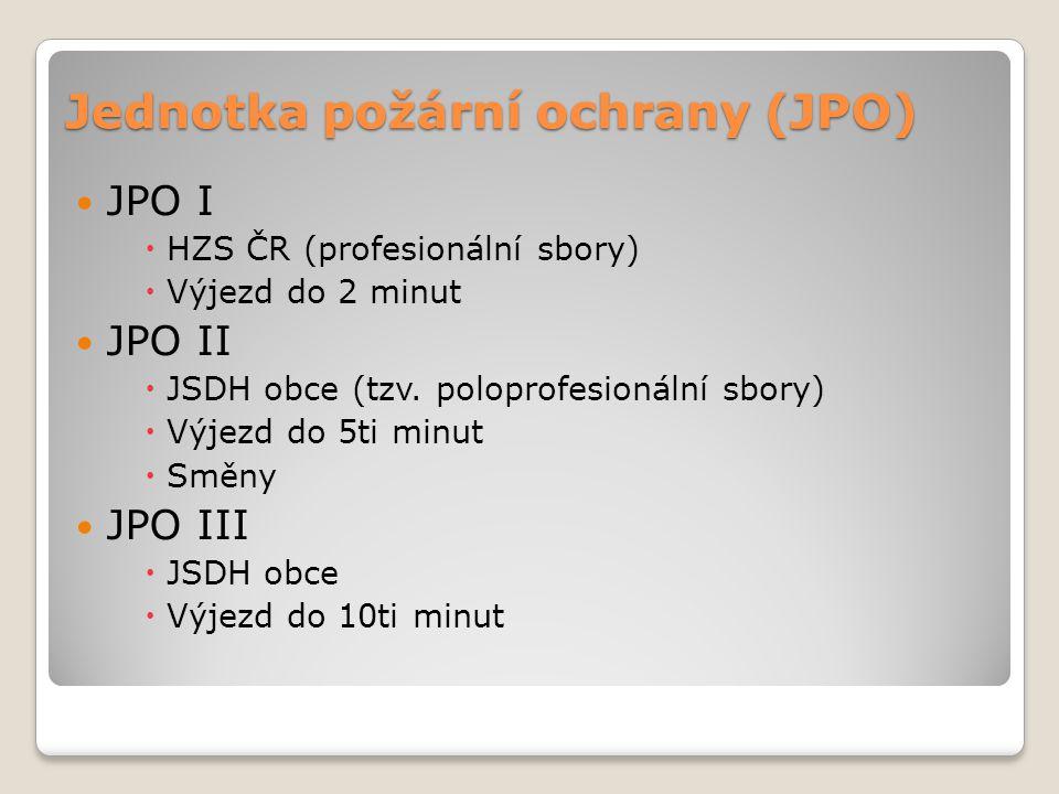 Jednotka požární ochrany (JPO) JPO I  HZS ČR (profesionální sbory)  Výjezd do 2 minut JPO II  JSDH obce (tzv. poloprofesionální sbory)  Výjezd do