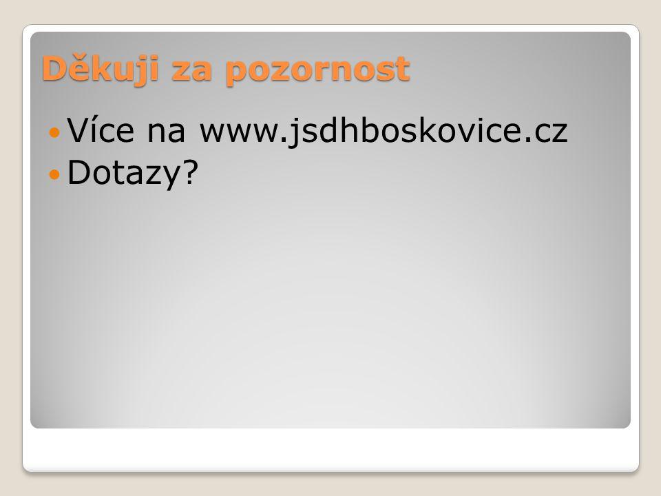 Děkuji za pozornost Více na www.jsdhboskovice.cz Dotazy?