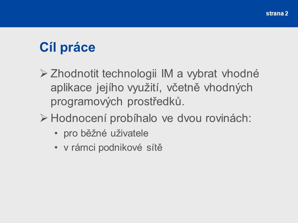 strana 2 Cíl práce  Zhodnotit technologii IM a vybrat vhodné aplikace jejího využití, včetně vhodných programových prostředků.