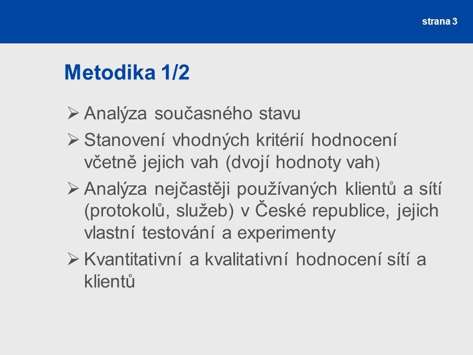 strana 3 Metodika 1/2  Analýza současného stavu  Stanovení vhodných kritérií hodnocení včetně jejich vah (dvojí hodnoty vah )  Analýza nejčastěji používaných klientů a sítí (protokolů, služeb) v České republice, jejich vlastní testování a experimenty  Kvantitativní a kvalitativní hodnocení sítí a klientů