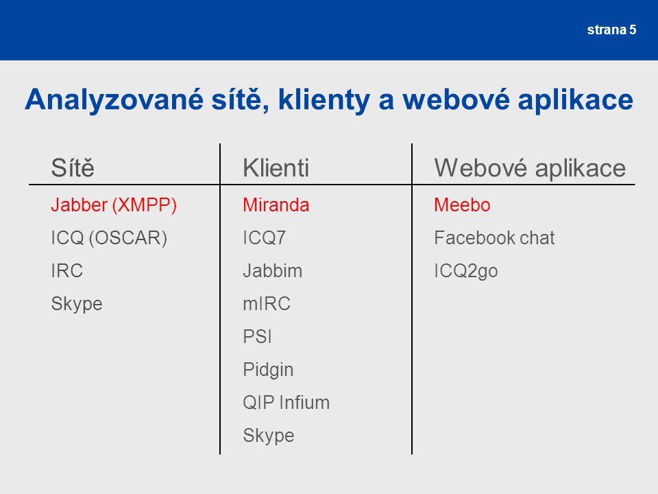 Analyzované sítě, klienty a webové aplikace strana 5 Sítě Jabber (XMPP) ICQ (OSCAR) IRC Skype Klienti Miranda ICQ7 Jabbim mIRC PSI Pidgin QIP Infium Skype Webové aplikace Meebo Facebook chat ICQ2go