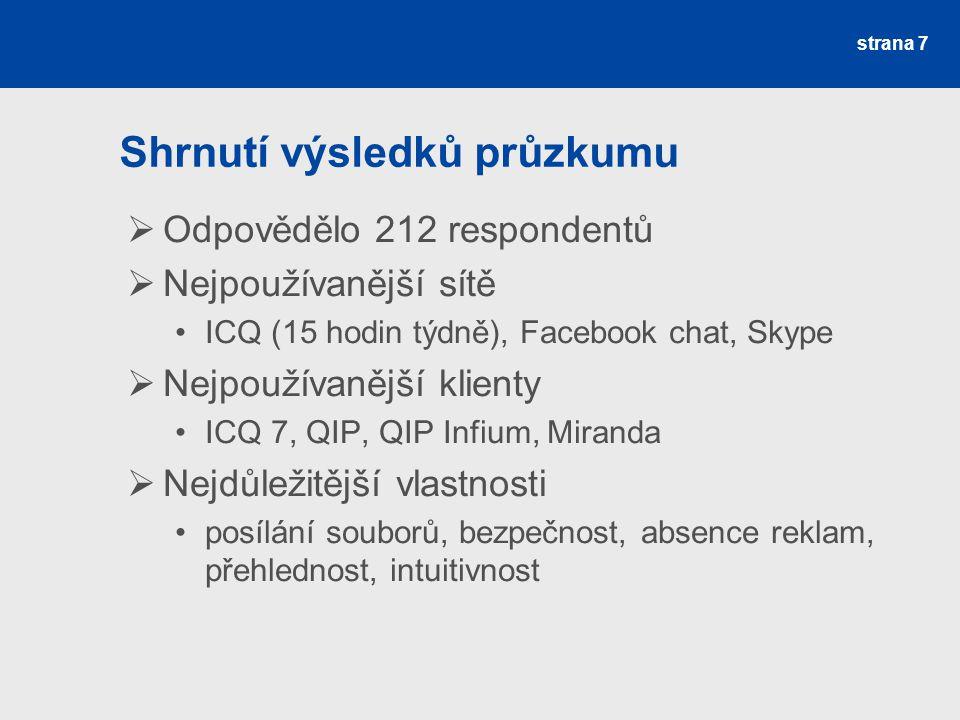 Shrnutí výsledků průzkumu  Odpovědělo 212 respondentů  Nejpoužívanější sítě ICQ (15 hodin týdně), Facebook chat, Skype  Nejpoužívanější klienty ICQ 7, QIP, QIP Infium, Miranda  Nejdůležitější vlastnosti posílání souborů, bezpečnost, absence reklam, přehlednost, intuitivnost strana 7