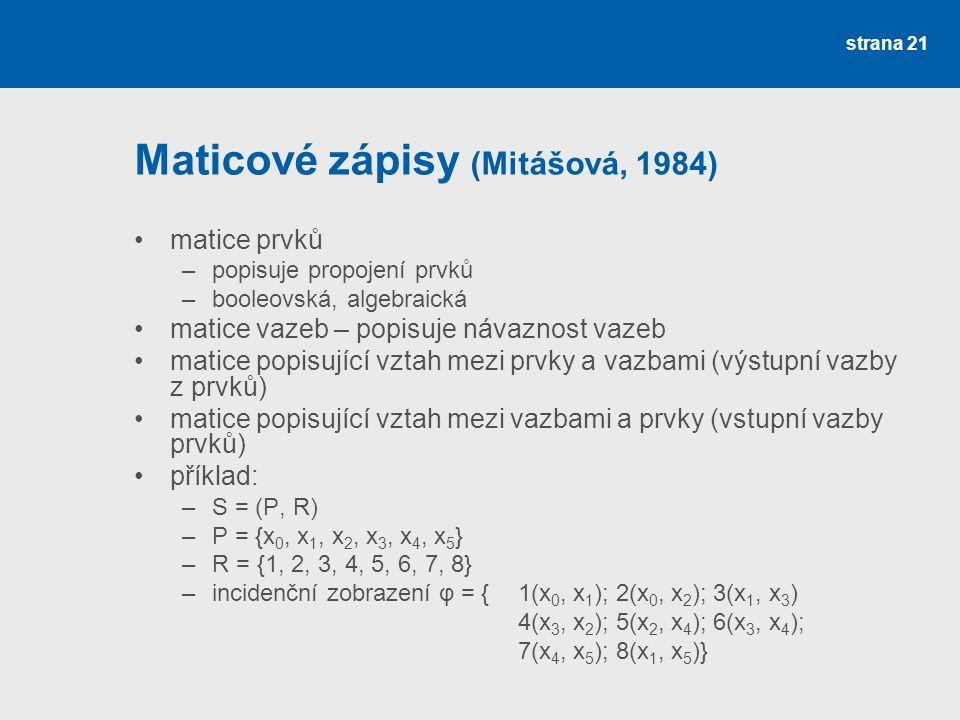 strana 21 Maticové zápisy (Mitášová, 1984) matice prvků –popisuje propojení prvků –booleovská, algebraická matice vazeb – popisuje návaznost vazeb matice popisující vztah mezi prvky a vazbami (výstupní vazby z prvků) matice popisující vztah mezi vazbami a prvky (vstupní vazby prvků) příklad: –S = (P, R) –P = {x 0, x 1, x 2, x 3, x 4, x 5 } –R = {1, 2, 3, 4, 5, 6, 7, 8} –incidenční zobrazení φ = {1(x 0, x 1 ); 2(x 0, x 2 ); 3(x 1, x 3 ) 4(x 3, x 2 ); 5(x 2, x 4 ); 6(x 3, x 4 ); 7(x 4, x 5 ); 8(x 1, x 5 )}