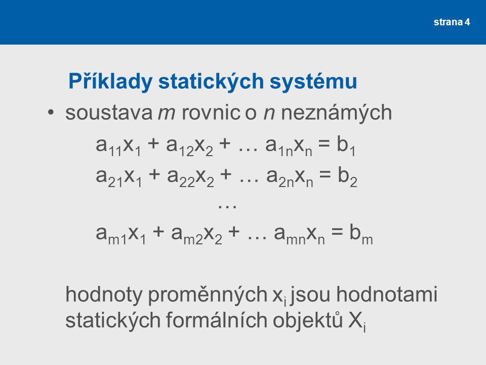 strana 4 Příklady statických systému soustava m rovnic o n neznámých a 11 x 1 + a 12 x 2 + … a 1n x n = b 1 a 21 x 1 + a 22 x 2 + … a 2n x n = b 2 … a m1 x 1 + a m2 x 2 + … a mn x n = b m hodnoty proměnných x i jsou hodnotami statických formálních objektů X i