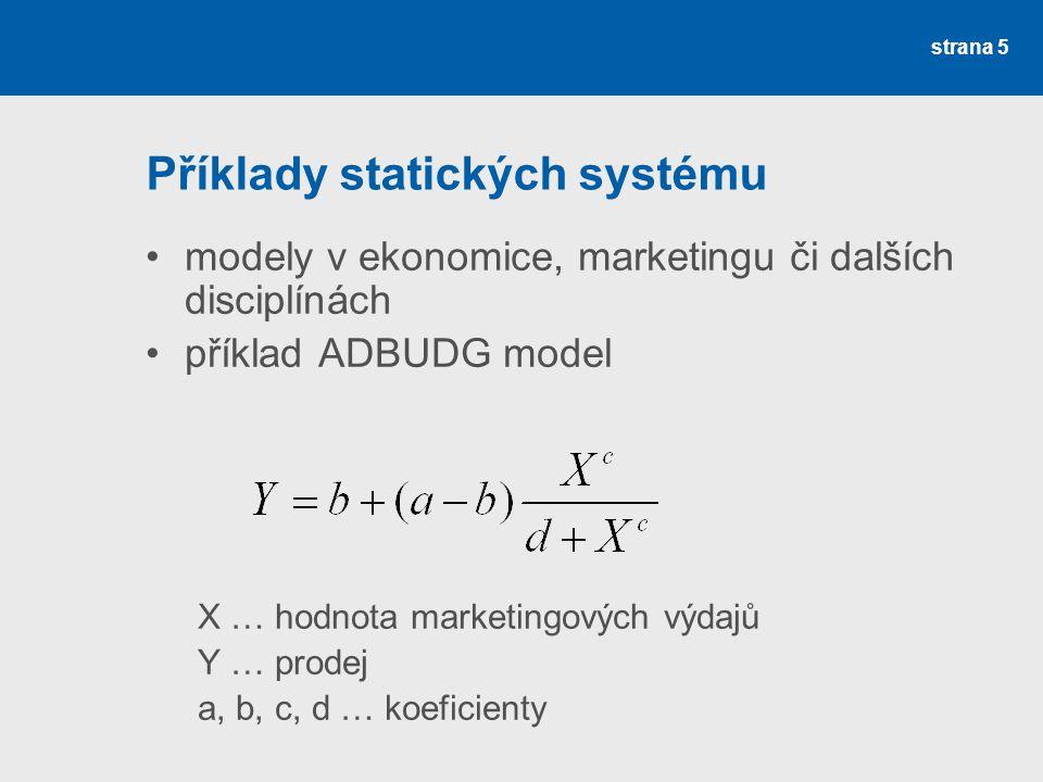 strana 5 Příklady statických systému modely v ekonomice, marketingu či dalších disciplínách příklad ADBUDG model X … hodnota marketingových výdajů Y … prodej a, b, c, d … koeficienty