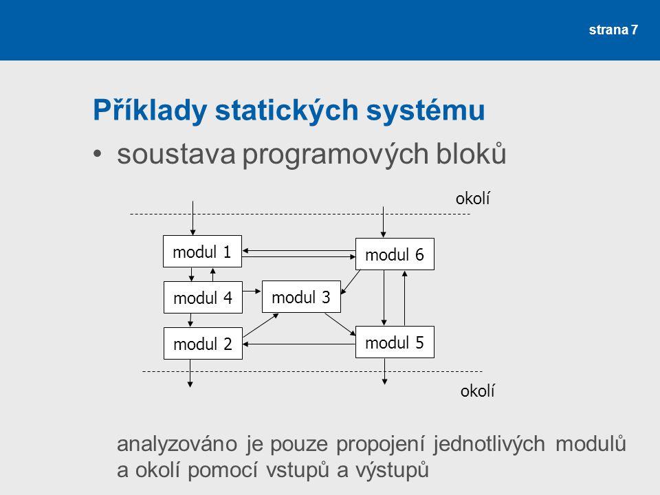 strana 8 Obecné modely struktur struktura = množina vazeb mezi prvky systému obecné modely slouží k popisu všech modelů reálných struktur pokud P je množina prvků, vazby jsou množina uspořádaných dvojic (p i, p j ) – lze definovat pomocí binární relace častěji se používá prostředků teorie grafů – struktura systému zadaná jako orientovaný/neorientovaný graf systémová algebra – aparát pro řešení úloh souvisejících se strukturou systémů, založený na zobrazení systému pomocí grafů
