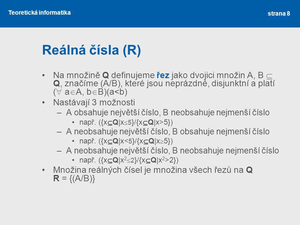 Teoretická informatika Kardinální čísla II.