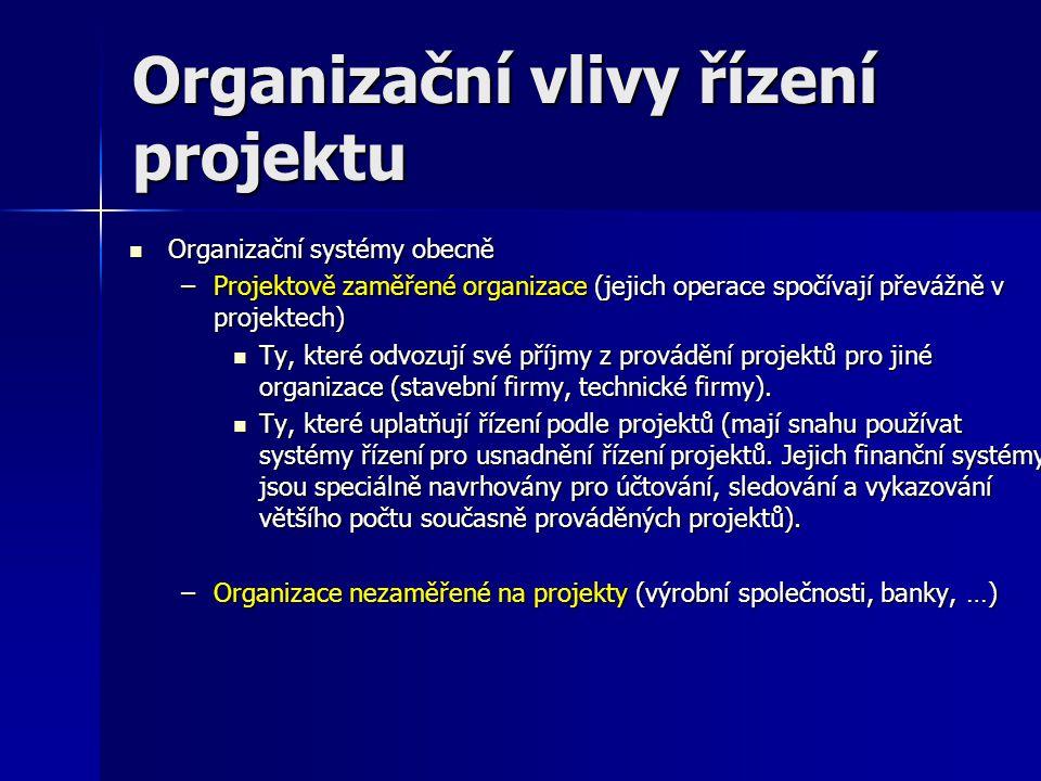 Organizační vlivy řízení projektu Organizační struktura (pro efektivní řízení projektu je nutné vytvořit přechodnou strukturu rolí, vztahů mezi nimi, rozdělit odpovědnosti za plnění jednotlivých úkolů i za jejich syntézu pro splnění celkového cíle projektu).
