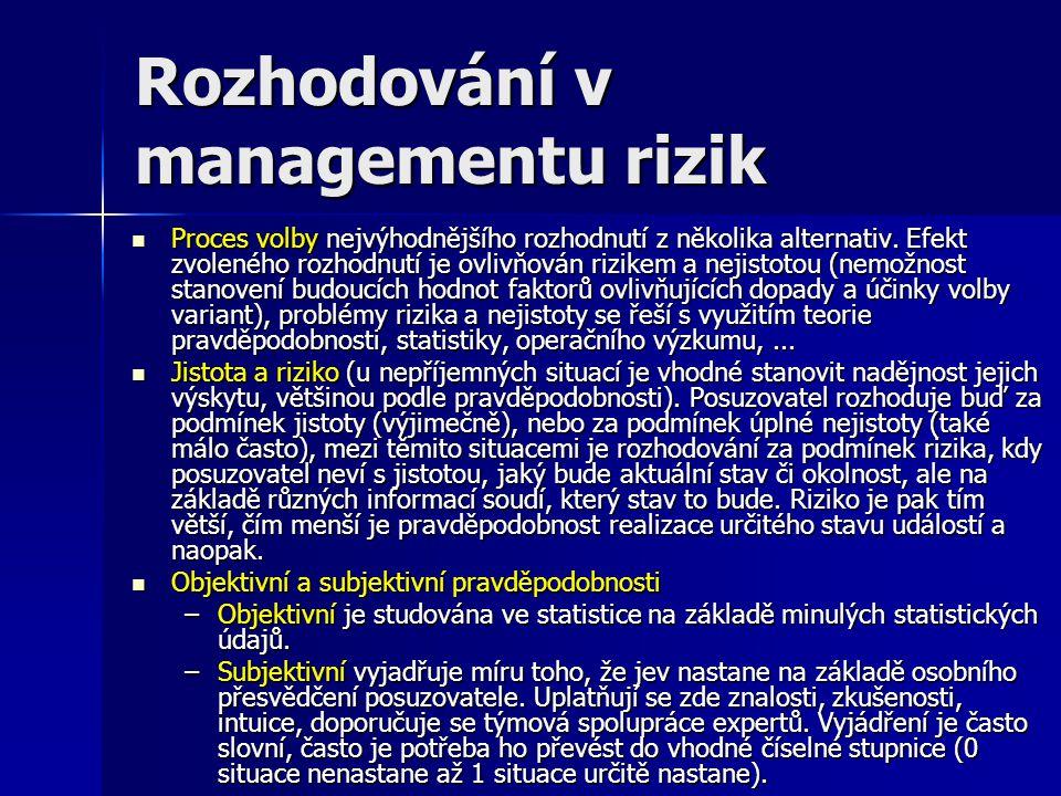 Rozhodování v managementu rizik Proces volby nejvýhodnějšího rozhodnutí z několika alternativ. Efekt zvoleného rozhodnutí je ovlivňován rizikem a neji