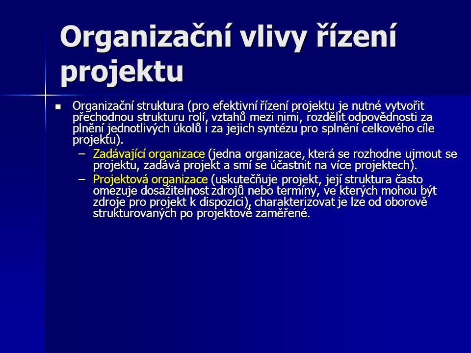 Organizační vlivy řízení projektu Organizační struktura (pro efektivní řízení projektu je nutné vytvořit přechodnou strukturu rolí, vztahů mezi nimi,