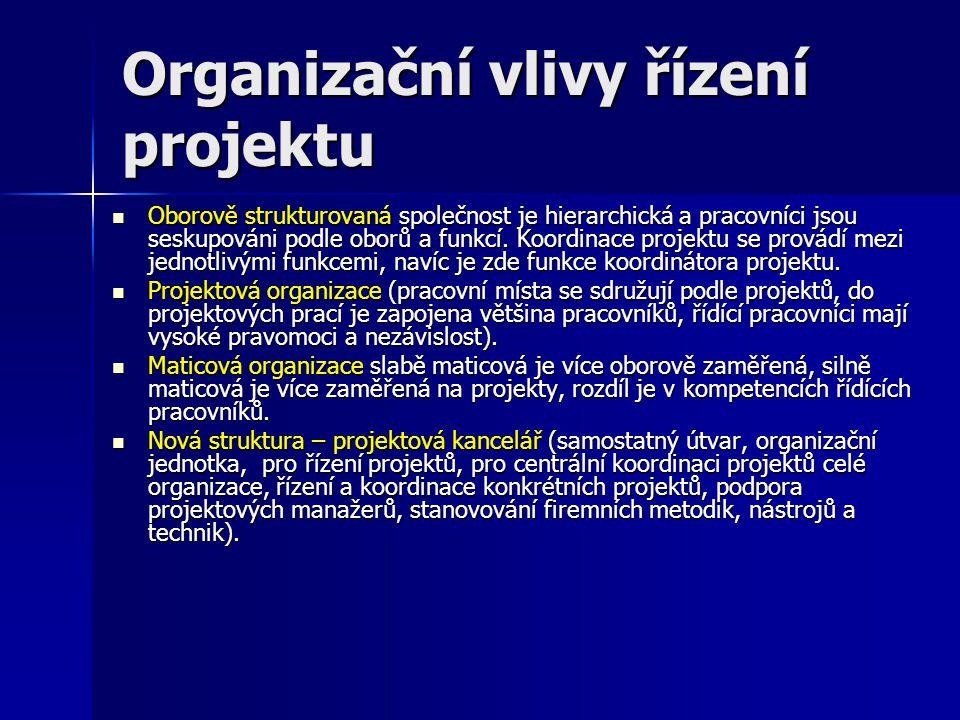 Organizační vlivy řízení projektu Oborově strukturovaná společnost je hierarchická a pracovníci jsou seskupováni podle oborů a funkcí. Koordinace proj