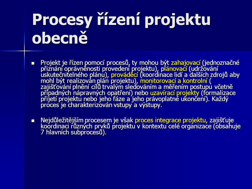 Procesy řízení projektu obecně Projekt je řízen pomocí procesů, ty mohou být zahajovací (jednoznačné přiznání oprávněnosti provedení projektu), plánov