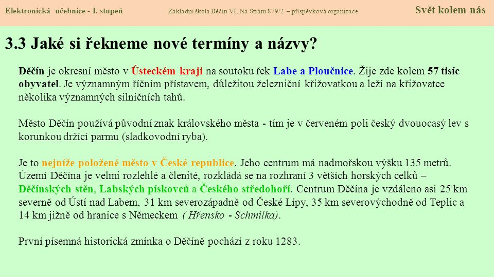 3.3 Jaké si řekneme nové termíny a názvy.Elektronická učebnice - I.