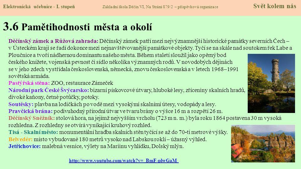3.6 Pamětihodnosti města a okolí Elektronická učebnice - I.
