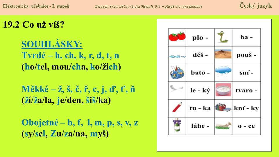 19.1 Psaní souhlásek uprostřed a na konci slov Elektronická učebnice - I.