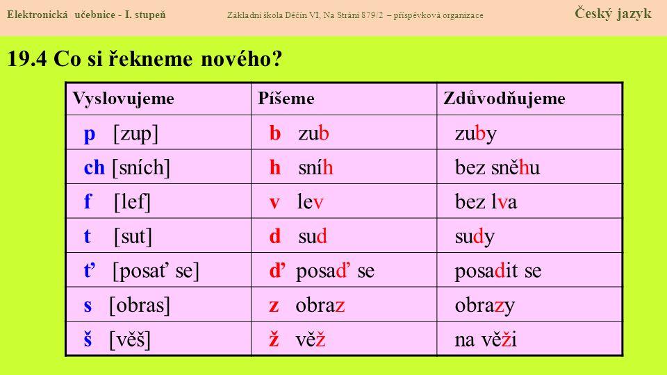 19.3 Jaké si řekneme nové termíny a názvy.Elektronická učebnice - I.