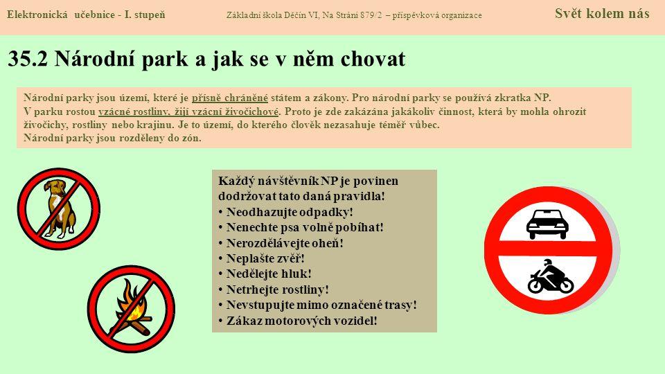 35.2 Národní park a jak se v něm chovat Elektronická učebnice - I.