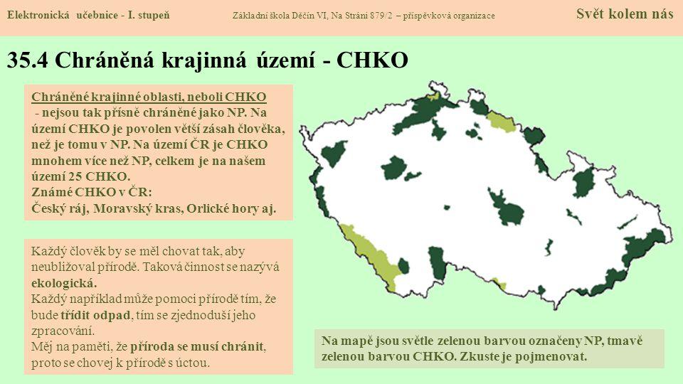 35.4 Chráněná krajinná území - CHKO Elektronická učebnice - I.