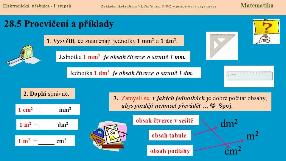 Elektronická učebnice - I. stupeň Základní škola Děčín VI, Na Stráni 879/2 – příspěvková organizace Matematika 28.5 Procvičení a příklady 1. Vysvětli,