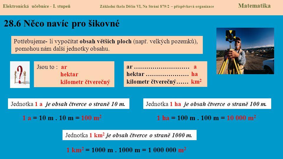 28.6 Něco navíc pro šikovné Elektronická učebnice - I. stupeň Základní škola Děčín VI, Na Stráni 879/2 – příspěvková organizace Matematika Potřebujeme