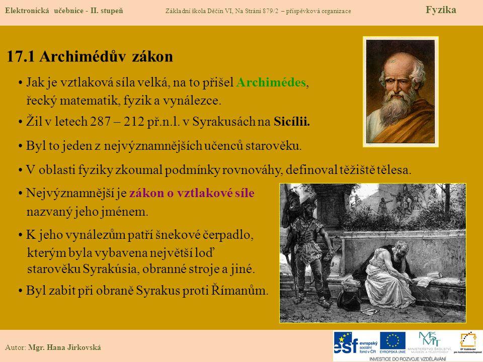 17.1 Archimédův zákon Elektronická učebnice - II.