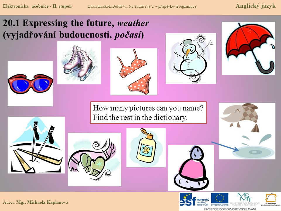 20.1 Expressing the future, weather (vyjadřování budoucnosti, počasí) Elektronická učebnice - II. stupeň Základní škola Děčín VI, Na Stráni 879/2 – př