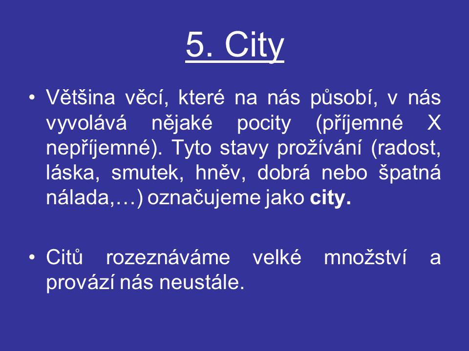 5. City Většina věcí, které na nás působí, v nás vyvolává nějaké pocity (příjemné X nepříjemné). Tyto stavy prožívání (radost, láska, smutek, hněv, do