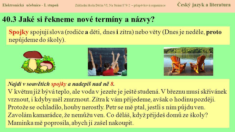 40.3 Jaké si řekneme nové termíny a názvy.Elektronická učebnice - I.