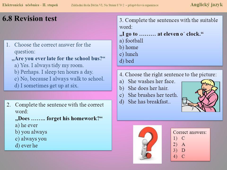 6.8 Revision test Elektronická učebnice - I.