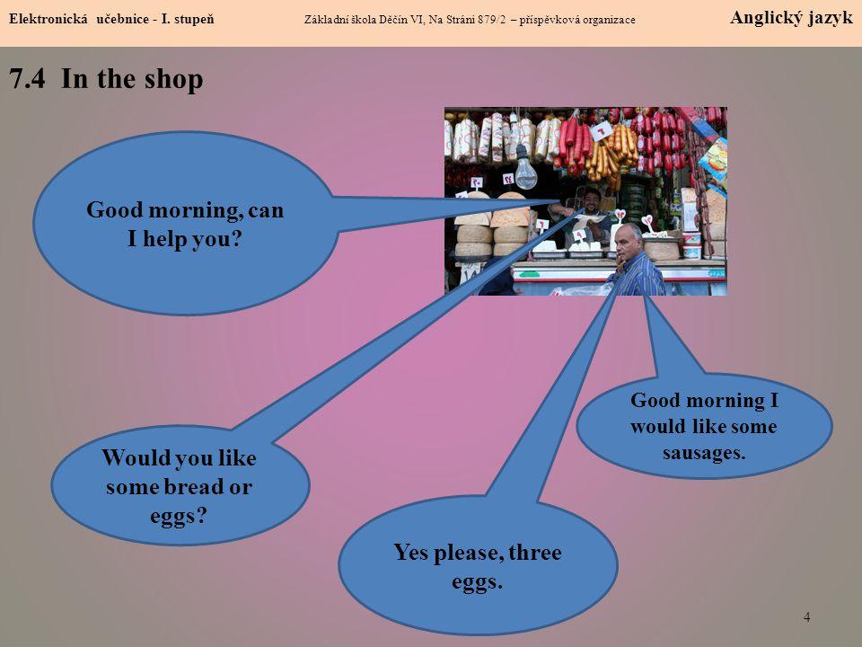 4 7.4 In the shop Elektronická učebnice - I. stupeň Základní škola Děčín VI, Na Stráni 879/2 – příspěvková organizace Anglický jazyk Good morning, can