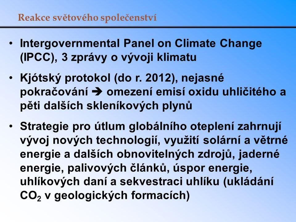 Reakce světového společenství Intergovernmental Panel on Climate Change (IPCC), 3 zprávy o vývoji klimatu Kjótský protokol (do r. 2012), nejasné pokra