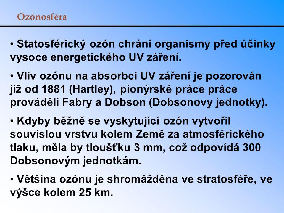 Ozónosféra Statosférický ozón chrání organismy před účinky vysoce energetického UV záření. Vliv ozónu na absorbci UV záření je pozorován již od 1881 (