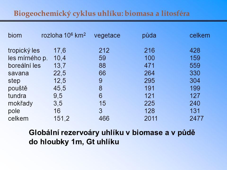 Biogeochemický cyklus uhlíku: biomasa a litosféra biom rozloha 10 6 km 2 vegetace půda celkem tropický les17,6 212216 428 les mírného p.10,4 59100 159