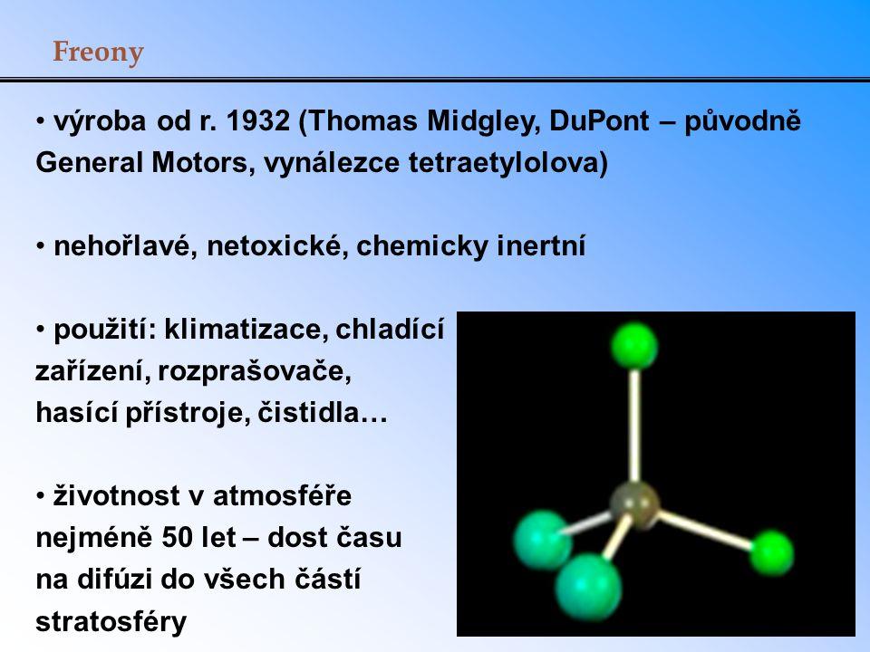 Freony výroba od r. 1932 (Thomas Midgley, DuPont – původně General Motors, vynálezce tetraetylolova) nehořlavé, netoxické, chemicky inertní použití: k